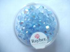 Rayher Glas - Schliffperlen 50 Stück 6 mm irisierend aquamarin Bastelperlen