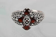 STERLING SILVER FILIGREE DESIGN RED GARNET STONES RING 925 VINTAGE 7320