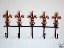 Wrought Iron Fleur De Lis Hat/Towel/Coat Hanger Hooks Gold And Black