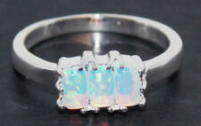 Sterling Silver Fire Opal 0.87ct Emerald Cut Ring (925)