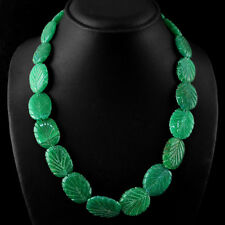 MARVELLOUS 462.70 CTS EARTH MINED GREEN EMERALD CARVED BEADS NECKLACE STRAND