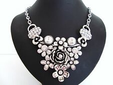 Stunning Chunky Crystal & Diamante V Flower Silver Necklace LaGeNlooK JeWelleRy