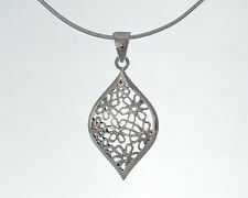 "Sterling Silver Stunning Filligree Drop Pendant Necklace with 18"" Snake Chain"