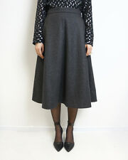 HOF115: COS Rock wolle duknelgrau midi / Herringbone wool skirt grey 34 UK 8