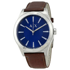 Armani Exchange Men's AX2324 Blue Dial Brown Leather Watch