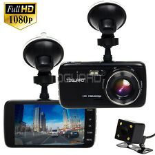 "TOGUAED 4"" IPS Full HD 1080P Car Dashcam Crash Camera DVR Dual Lens Video Cam"