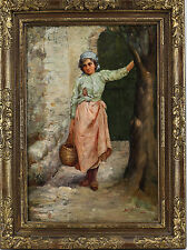 Continental 19th Century Oil On Artist Board Painting Young Lady signed