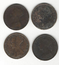 6. Hong Kong One Cent Coins 1875, 1877, 1901 & 1901 Victoria Queen - As Shown