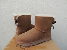 UGG CHESTNUT MINI BAILEY BOW SUEDE/ SHEEPSKIN BOOTS, WOMENS US 6/ EUR 37  ~NIB
