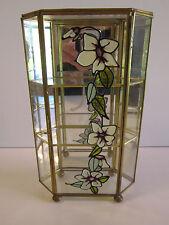Vintage Brass Glass Trinket Jewelry Curio Cabinet Display Shelf Case Mirror Box