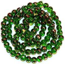 """G2333t Dark Green 8mm Round Metallic Drawbench Swirl Glass Beads 32"""""""