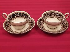 Wedgwood England FLORENTINE DARK BLUE Pair of Cups and Saucers
