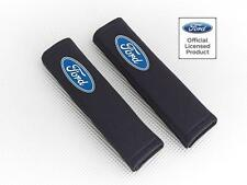 Ford Car Seatbelt Pads Covers Black Fabric With Logo Pair By Richbrook