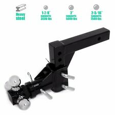 """Triple 3 Ball Adjustable Swivel Hitch Mount Tow Trailer Fits 2"""" Receiver Adapter"""