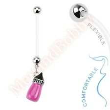 Bio Flex Pregnancy Bar Navel Ring Baby Bottle Belly Button Dangle Body Jewellery
