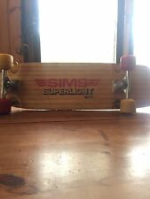 Vintage Sims Skateboard Super light 9.0 Rare With Tracker Trucks And Sims Wheels