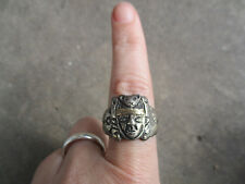 vintage 1940 Mayan Aztec Chief King Bear Inca Mexican Mexico Biker Ring 10