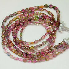 Watermelon Tourmaline Smooth Oval Nugget Bead 63.5 inch strand