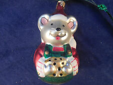 """3 1/2"""" BLOWN GLASS MOUSE WITH PIECE OF CHEESE ORNAMENT"""