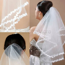 "1T 51"" White Leafy Edge Bridal Dress Shoulder Halloween Fancy Dress Wedding Veil"