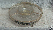 RETRO 5 PC  GLASS LAZY SUSAN  METAL TURN TABLE DIVIDED GLASS RELISH SERVING TRAY
