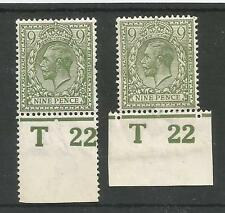 1922 T22 9d OLIVE GREEN CONTROL PERF & IMPERF MINT,SEE SCANS