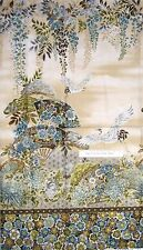 "23"" Fabric Panel - Robert Kaufman Imperial Japanese Crane & Fan Blue Brown Beige"