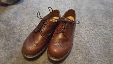 Mens DR MARTENS DOC Size 6 WINGTIP 3989/34 Oxford Brogues Brown Leather Shoes