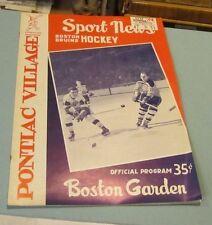 1960 Detroit Red Wings Boston Bruins Hockey Game Program Ticket Stub Gordie Howe