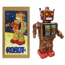 "TIN TOY ELECTRON ROBOT 12"" Copper Bronze Battery Operated Space Age Retro ME100"