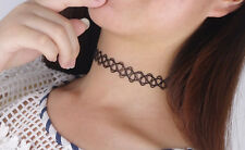 Black Tattoo Choker Stretch Necklace Retro Henna Vintage Elastic Boho 90s UK