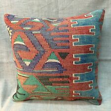 "Handmade Kilim Cushion Cover Throw Pillow Case Bohemian Boho 16x16"" (40x40cm)"