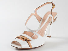 New   Baldinini White Leather Sandals Size 38 US 8