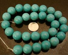 28 Treated Magnesite created Turquoise 14mm round shaped  beads 16 inch BS060