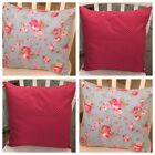 "4 Cath Kidston Blue Rosali Floral Red Spot 16"" Cushion Covers Shabby Chic"
