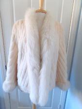 Off White Cream Stunning Mink Fox Fur Pocket JACKET SZ M