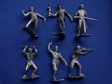 """MARX WWII RUSSIAN SOLDIERS FIGURES RECAST 6"""" DIFFERENT POSITIONS SILVER COLOR"""