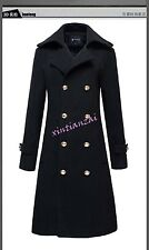 Mens Womens Double Breasted Wool Blend Jackets Long Trench Coats Cool Outwear