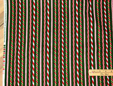 Holly Jolly Christmas Peppermint Stick Stripes Kaufman Fabric by the 1/2 Yard