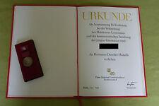 DDR Medaille & Urkunde - FDGB - Hermann-Duncker-Medaille - 1981 - in silber