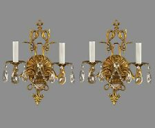French Style Gilded Finish Wall Sconces c1950 Vintage Antique Restored