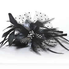 Gift gorgeous fascinator feather crystal flower lace headband hair accessories