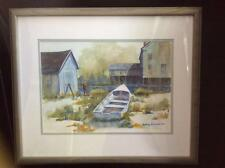 Original Watercolor of Row Boat, House and Boat House, Marjory S. Frazier, BWS