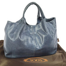 100% Authentic TOD'S Logos Hand Tote Bag Gray Python Skin Leather Italy NR09656