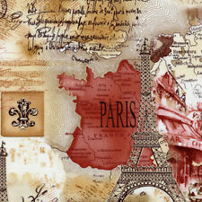 Timeless Treasures Paris Eiffel Tower Champs-Elysees Map Script Fabric in Sepia