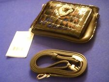 New Brighton Black Leather & Patent Later Gator  Clutch Micro Bag Wallet RARE!