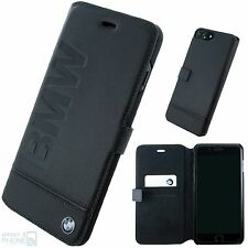 "BMW Echtleder Handy Cover iPhone 7 Plus 5,5"" Book Case Schutz Hülle schwarz"