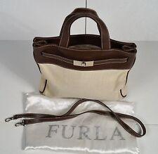 Vintage Furla Canvas & Leather Handbag with Shoulder Strap & Dust Cover 254155