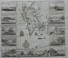 Rare orig antique map SPITZBERGEN 'GREENLAND' WHALING Purchas, Churchill, 1744
