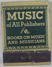 1950's Matchbook Feature Music All Publishers G. Schirmer